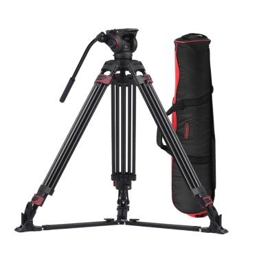 Miliboo MTT609A Professionelle Fotografie 3 Sektionen Stativ Aluminiumlegierung mit 360 ° Panorama Flüssigkeit Hydraulik Bowl Leiter Max. Höhe 170cm / 5.6ft Belastbarkeit 15kg für Canon Nikon Sony DSLR-Kameras Camcorder