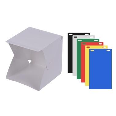 Tragbare DIY LED Studio Licht Box Zelt Kit Mini Faltbare Foto Studio Softbox 6500K mit Eingebautem 1pc LED Streifen 6 Verschiedene Farben von Backdrops 5V 1A USB Eingang für kleine Produkte Stilleben