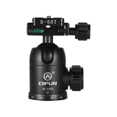 DIFUN H-103 Professional Aluminum Alloy Ball Head Panoramic Damping Video Head Tripod Head 1/4 Inch Screw Canon Nikon Sony DSLR ILDC Cameras Max. Load Capacity 10kg
