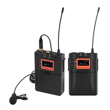 Wireless Lavalier Microphone System UHF 60 channels One Transmitter One Receiver