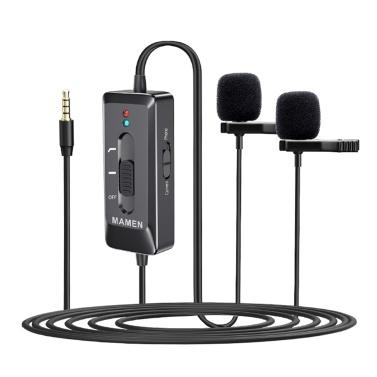 MAMEN KM-D2 Pro Clip-on Lavalier Microphone Omni-directional Dual Mics 3.5mm Plug 6.35mm Audio Adapter Type-C Data Line