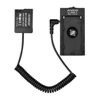 Andoer NP-F970 F750 Batterieplattenhalter-Adapter mit doppelter USB-Schnittstelle + NP-W126 Dummy-Batteriekoppler