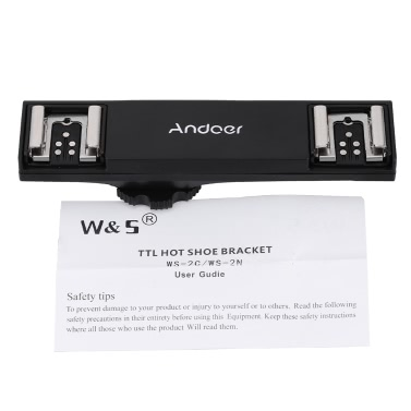 Andoer Dual Hot Shoe Flash Speedlite Light Bracket Splitter for Canon 7DII 70D 5DR 5DRS 5DIII 6D  DSLR Camera Camcorder