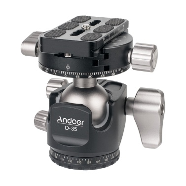 Andoer D-35 Low Profile Double Panoramic Head CNC Machining Aluminum Alloy Ball Head Tripod Head