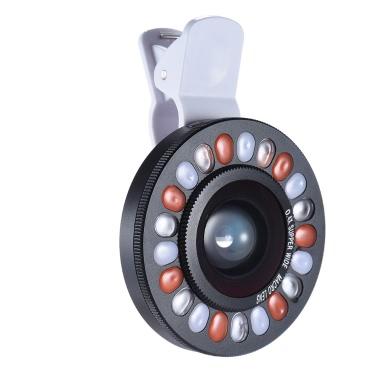 Clip-on-LED-Ring Selfie Licht Ergänzungs Fill-in-Beleuchtung mit Weitwinkel-Makro-Objektiv für iPhone Samsung HTC Smartphone