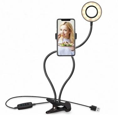 Selfie Ring Light avec support de téléphone paresseux pour maquillage en streaming en direct