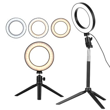 docooler 6 Inch Mini LED Ring Light Photography Lamp Dimmable 3 Lighting Modes USB Powered