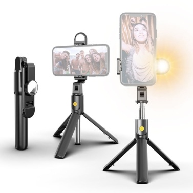 K10S Multifunctional Portable 3in1 5-Section Extendable Foldable Wireless BT Tripod Selfie Stick