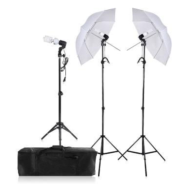 Fotografie / Video-Porträt-Regenschirm-ununterbrochener dreifacher Beleuchtung-Installationssatz