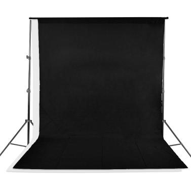 Andoer® Kit de Estudio Fotográfico Soporte de Telón de Fondo con Bolsa de Almacenamiento Negro Blanco No-tejidos Telones y Mini clips