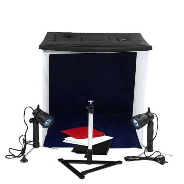 40 cm / 16 in Fotostudio Square Light Zelt Satz Klapp Square Light Zelt + 50W Halogenlampen (EU Stecker) + Drehbare Kugelkopf Copy Stand + 4 Farben Hintergründe