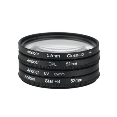Andoer® 52mm UV + CPL + Primer plano + 4 + Estrella de 8 puntos Filtro Circular Juego de Filtro Polarizador Circular Macro de Filtro Filtro de Primer plano de la estrella 8-Point  con bolso para Nikon Canon Pentax Sony DSLR
