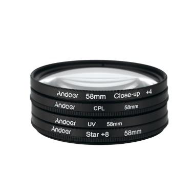 Andoer 58mm UV+CPL+Close-Up+4 +Star 8-Point Filter Circular Filter Kit Circular Polarizer Filter Macro Close-Up Star 8-Point Filter with Bag for Nikon Canon Pentax Sony DSLR Camera