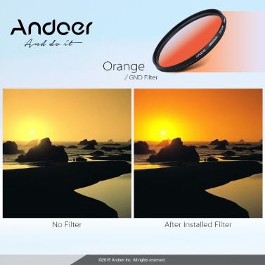 Andoer Professional 55mm GND Graduated Filter Set GND4(0.6) Gray Blue Orange Red Graduated Neutral Density Filter for Canon Nikon DSLR 55mm Camera Lens