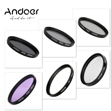 Andoer 52mm UV+CPL+FLD+ND(ND2 ND4 ND8) Photography Filter Kit Set Ultraviolet Circular-Polarizing Fluorescent Neutral Density Filter for Nikon Canon Sony Pentax DSLRs