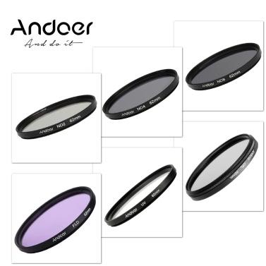 Andoer 62mm UV+CPL+FLD+ND(ND2 ND4 ND8) Photography Filter Kit Set Ultraviolet Circular-Polarizing Fluorescent Neutral Density Filter for Nikon Canon Sony Pentax DSLRs