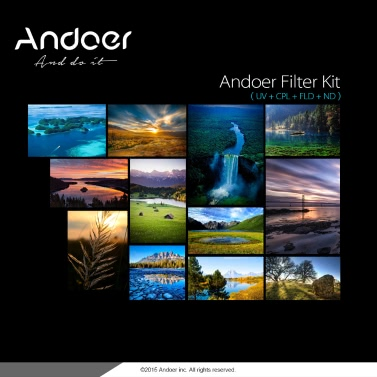Andoer 77mm UV+CPL+FLD+ND(ND2 ND4 ND8) Photography Filter Kit Set Ultraviolet Circular-Polarizing Fluorescent Neutral Density Filter for Nikon Canon Sony Pentax DSLRs