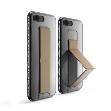 dodocool Ultra Slim Crystal Clear Schutzhülle mit schwarzer faltbarer Ständer-Griff-Halter Anti-Rutsch-Stoßdämpfung Kratzschutz-Shell Cover für 5,5-Zoll-iPhone 7 Plus schwarz