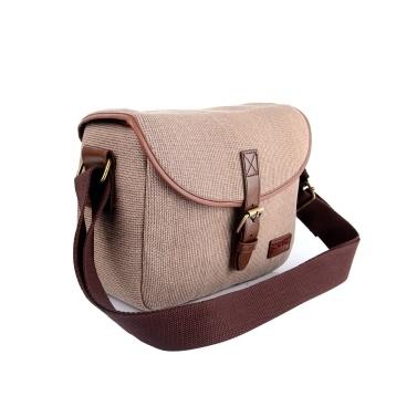 Camera Bag SLR/DSLR Gadget Bag Stylish Retro Shoulder Carrying Bag Photography Accessory Gear Case Flax Material