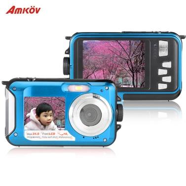 """Amkov Dual LCD 2.7"""" HD 24MP 16X Digital Zoom 1080P 30FPS Waterproof Anti-shake Selfie Digital Camera Camcorder"""