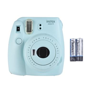 Fujifilm Instax Mini 9 Instant Kamera Film Cam mit Selfie Spiegel 2 Stück Akku, Ice Blue