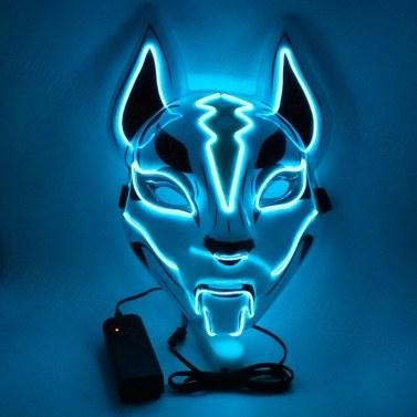 Fox máscara facial luzes de néon festa de halloween led abajur escuro brilhante máscara cosplay máscara do traje do partido