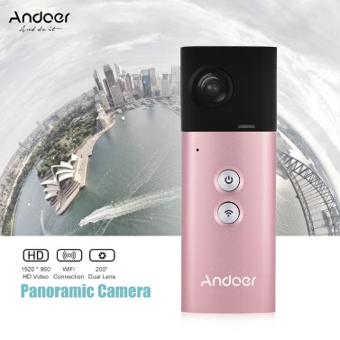 Andoer A360I Handheld 360° Panoramic WiFi VR Video Camera Action Sports Cam Dual 200° Spherical Lens 1920 * 960 Full HD