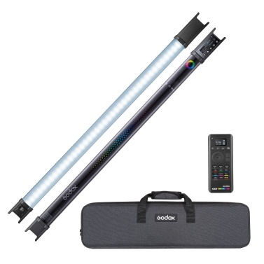 Godox TL60 Full-Color RGB Tube Light 2500K-6500K CRI 96 TLCL 98 Accurate Color 39 Light Effects Built-in Battery Supports On-board Buttons/ APP/ Remote/ DMX Control with Carry Bag Remote Controller Power Adapter, 2 Lights Kit