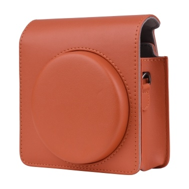 Portable Instant Camera Case Carry Bag PU Leather with Shoulder Strap