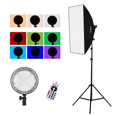 Andoer Studio Photography 2.4G RGB LED Light Softbox Kit