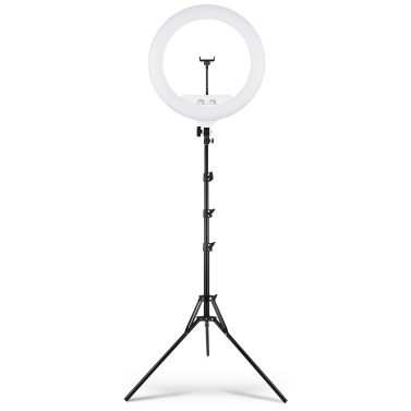 22 Inch Large Ring Light Bi-Color 3200K-5500K Stepless Dimable Photography Light with 2m Extendable Tripod Phone Holder Remote Control for Live Stream Selfie Makeup Portrait Filming
