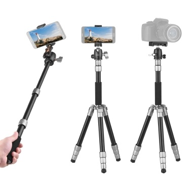 Andoer Q066 Compact Portable Tripod Lightweight Tripod Monopod with Phone Clip Quick Release Plate Ball Head Storage Bag for Smart Phone Camera