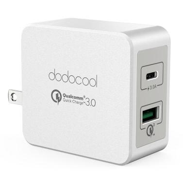 dodocool 33W 2-Port-USB-Ladegerät Power Adapter mit 18W Quick Charge 3.0 und 15W Reversible Typ-C-Lade Ports faltbare US-Stecker Weiß