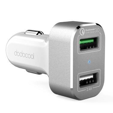 dodocool 30W 2-Port USB Car Charger mit Quick Charge 3.0 für LG G5 / HTC One A9 / Xiaomi Mi 5 / LeTV Le MAX Pro und mehr USB-betriebene Geräte-White-Silber