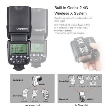 Godox V860II-N i-TTL 1 / 8000S HSS-Master-Slave GN60 Speedlite Flash Eingebautes 2,4-G-Wireless-X-System mit 2000mAh-Lithium-Ionen-Akku