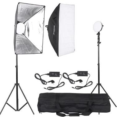 Andoer LED photographie Studio éclairage Kit d'éclairage avec 2 * 30W LED lampe + 2 * Softbox * 2 * clair Stand + 1 * sac de transport