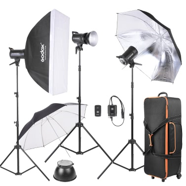 Godox SK300-D 3 * 300WS Studio Photo Strobe Flash Light Kit with 3 * Light Stand / 1 * Softbox / 1 * Reflector Umbrella / 1 * Soft Umbrella / 1 * Flash Trigger / 1 * Lamp Shade / 1 * Wheeled Carrying Bag