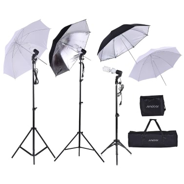 Andoer Foto-Studio-Installationssatz 2 * 2m heller Standplatz + 3 * 45W Birne + 2 * 83cm Lichtdurchlässiger weißer weicher Regenschirm +2 * 83cm Schwarzer u. Silberner Regenschirm + 1 * 80cm heller Standplatz + 3 * Birnen-Schwenksockel mit 1 Birnen-Aufbewahrungsbeutel 1 tragender Beutel