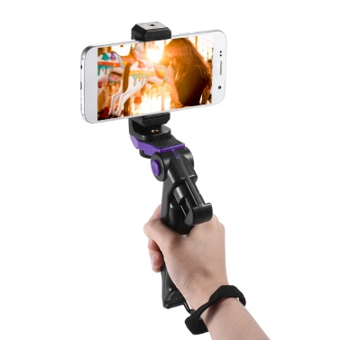 Andoer Universal Mini Phone Tripod Stand Handheld Grip Stabilizer with Adjustable Smartphone Clip Holder Bracket for iPhone 7 Plus/7/6/6 Plus/6s for Samsung Galaxy S7/S6