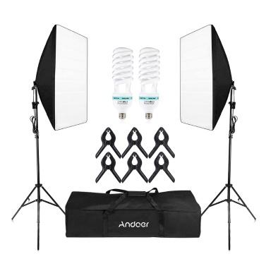 Andoer-2 Photography Studio Cube Umbrella Softbox Light Kit di illuminazione per tende