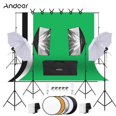 Andoer Photography Kit 1,8 m * 2,7 m schwarz weiß grün Polyester-Baumwolle Hintergründe 6 Stück