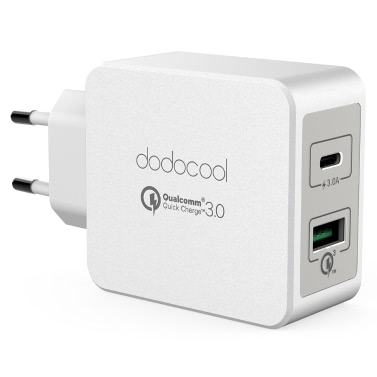 dodocool 33W 2-Port USB Wall Charger Power Adapter 18W Quick Charge 3.0 15W Reversible Type-C Charging Ports EU Plug White
