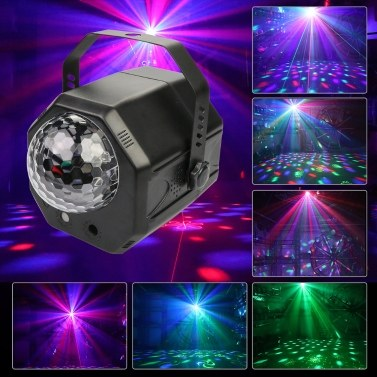 2 lentilles + 1 balle RVB DJ Disco Stage Lumière Magic Ball Laser Light Party Laser Lights