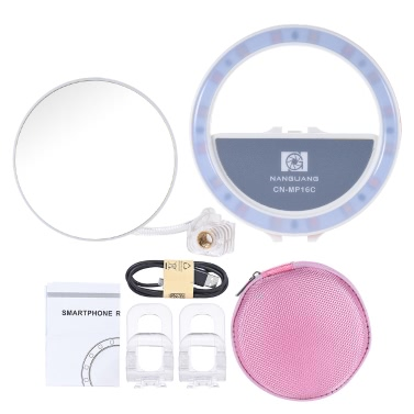 NANGUANG CN-MP16C Clip-on Selfie Fill-in Ring LED Light Flash Bi-color 3200-5600K High CRI 95 Stepless Adjustable Round Shape with 16 LED Makeup Mirror for Iphone Samsung Smartphone White