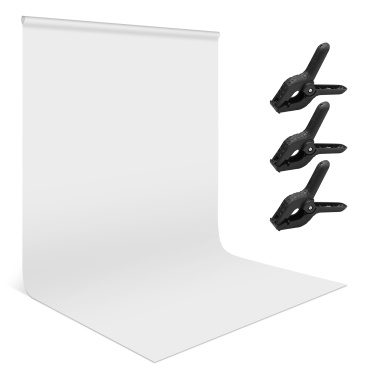 Andoer 1.8 * 2.8m/ 6 * 9ft Photography Background Screen Portrait Photography Backdrops Photo Studio Props Durable Washable Polyester-cotton Material with 3 Backdrop Clamps, Green Color