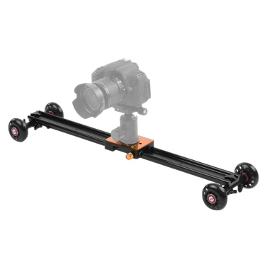 "Andoer 60cm/23.6"" 4 Wheels Soundless Aluminum Alloy Video Rail Track Slider Table Dolly Car Stabilizer Max. Load 6kg/13.2Lbs for Canon Nikon Sony DSLR Camera   Camcorder DV"