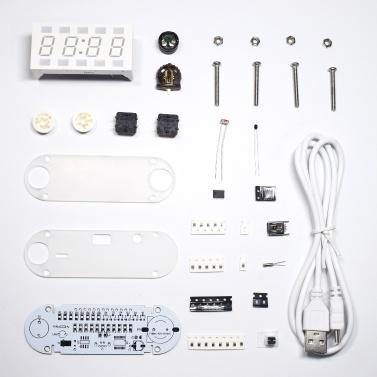4-Digit Digital Clock DIY Kit LED Mixed Color Nixie Tube Table Desk USB-Powered Clock