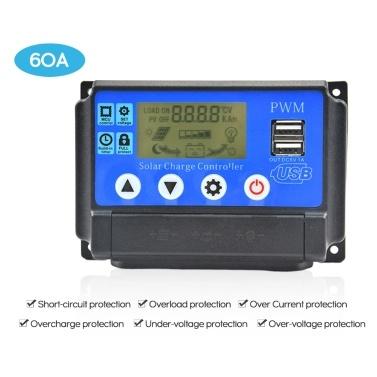 Regolatore di carica solare Doppio display LCD USB Regolatore di pannelli PWM automatici Regolatore intelligente PWM con USB 5V 2.5A