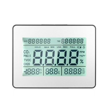 Carbon Dioxide Detector Air Quality Monitor Meter with Data Logging Clock Function