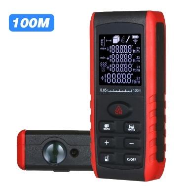 Portable Handheld Digital Laser Distance Meter Diastimeter Laser Distance Measuring Instrument Range Finder Area Volume Measurement with Angle Indication 50m